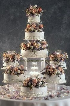 8 tier cascading fountain wedding cake stand stands set - JUST FASHION Big Wedding Cakes, Creative Wedding Cakes, Amazing Wedding Cakes, Wedding Cake Stands, Elegant Wedding Cakes, Wedding Cake Designs, Extravagant Wedding Cakes, Wedding Cake Vintage, Floral Wedding