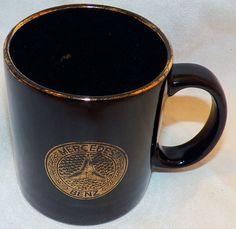 Vintage Black Mercedes Daimler Benz Coffee Mug Cup 22K Emblem Logo Gold 12ozLeaf