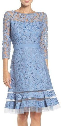 Women's Tadashi Shoji Lace Overlay Dress  Elaborate textured lace bolsters the vintage-inspired silhouette of a belted, bateau-neck dress with sheer sleeves and tulle insets at the hem of its flouncy skirt.