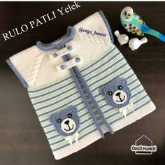 Baby Boy Knitting, Baby Knitting Patterns, Teachers Pet, Baby Cardigan, Baby Sweaters, Diy And Crafts, Baby Shoes, Coin Purse, Embroidery