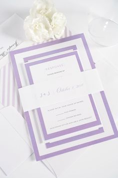 Amethyst and lilac wedding invitations with modern borders. Ask us how we can customize these wedding invitations to match your color palette!