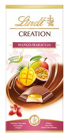Discover the exciting combination of delicious milk chocolate and a fruity mango, passion fruit milk cream filling. Lindt Chocolate, Chocolate Brands, Chocolate Packaging, Design Blog, Food Design, Design Layouts, Brochure Design, Design Design, Graphic Design