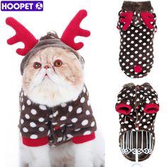 HOOPET Dog Cat Coat Polka Dot Elk Flannel Pajamas Pet Winter Warm Hoodie Puppy Costumes Apparel Clothes