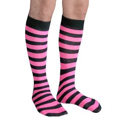 Black & neon pink athletic tube style mens knee socks.  Shop our entire Mens collection.  Chrissy's Socks 877-862-6267