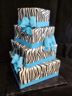 0d53eab366e Zebra Print Wedding Cake With Turquoise Fondant Bows Yelp