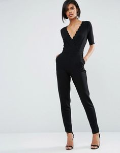 French Connection | French Connection Bow Scallop Jumpsuit at ASOS