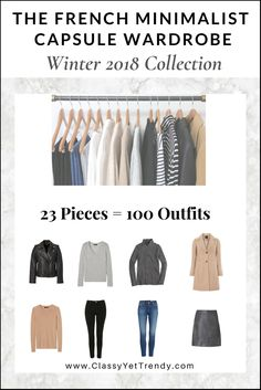 GO TO E-BOOK STORE The French Minimalist Capsule Wardrobe: Winter 2018 Collection Maximize your closet, get dressed quickly and get 100 Fren. Capsule Wardrobe 2018, French Capsule Wardrobe, Wardrobe Basics, Winter Wardrobe, Wardrobe Ideas, Fashion Capsule, Fashion Outfits, Fashion Styles, Trendy Outfits
