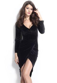 5d76fa89199 Robe De Velours Noir à Manches Longues Robe Midi Club Wear Soirée Velvet  Midi Dress