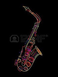 Ilustración de un saxofón sobre negro Foto de archivo