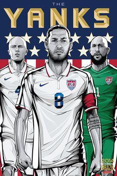 Estados Unidos - USA, Afiches fútbol Copa Mundial Brasil 2014 / World Cup posters by Cristiano Siqueira