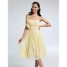 A-line Princess Sweetheart Knee-length Chiffon Bridesmaid Dress – USD $ 99.99