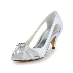 Satin Stiletto Heel Pumps Sandals with Rhinestone Wedding Shoes(More Colors) – USD $ 49.99