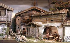 Krippenschau in Uttendorf Nativity Creche, Nativity Stable, Christmas Nativity Scene, Nativity Scenes, Christmas Crib Ideas, Christmas Crafts, Christmas Decorations, Winter Painting, Miniature Houses