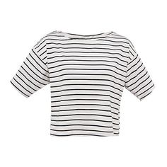 Boxy T-Shirt In Classic Mono Stripes (350 MXN) ❤ liked on Polyvore featuring tops, t-shirts, shirts, stripe, striped tee, boxy t shirt, white t shirt, white boxy top and striped top