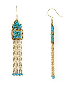 "Fringe Chandelier Earrings PRODUCT DETAILS 3.5"" drop French wire 14K gold-fill/turquoise/Swarovski crystal/glass"