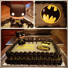 Homemade batman cake for a 3 year-old's birthday party. He loved it!