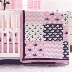 Nautical Whales and Anchors Pink 3 Piece Crib Bedding Set by The Peanut Shell Girls Nautical Bedroom, Nautical Nursery Bedding, Whale Themed Nursery, Elephant Crib Bedding Set, Girl Nursery Bedding, Crib Bedding Sets, Girls Bedroom, Baby Doll Bed, Baby Room Themes