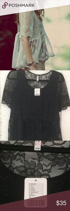FP FREE PEOPLE X Viola Embroidered Top SZ XS Free People (FP) NWT Authentic  - No outlet or damaged items!  Top is sheer as most FP is meant to layer. Front is lines back sheet lace. Boxy oversized fit. I am not a retailer and I do not have other sizes.  Just a former fashion industry girl turned legally blonde ☺️ Free People Tops Blouses