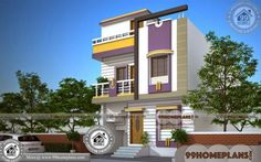 [ Contemporary Mix Home Keralahousedesigns House Design Square Yards Small ] - Best Free Home Design Idea & Inspiration Two Storey House Plans, Narrow House Plans, Double Storey House, 2 Storey House Design, Duplex House Design, Plan Duplex, Duplex House Plans, Bungalow House Plans, Bedroom House Plans