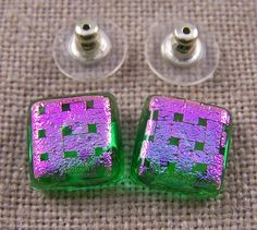 Dichroic Earrings Green Stained Glass with Pink by HaydenBrook, $13.99