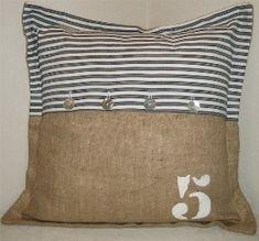 Burlap / Euro Ticking Pillow