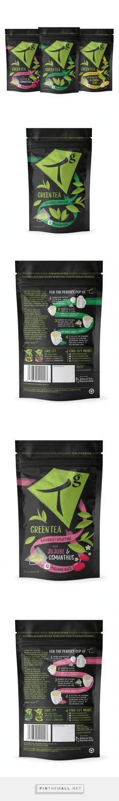 Tg Green Tea Pouches on Packaging of the World - Creative Package Design Gallery - created on Coffee Branding, Coffee Packaging, Beverage Packaging, Food Packaging Design, Packaging Design Inspiration, Branding Design, Starbucks Shop, Tea Logo, Pouch Packaging