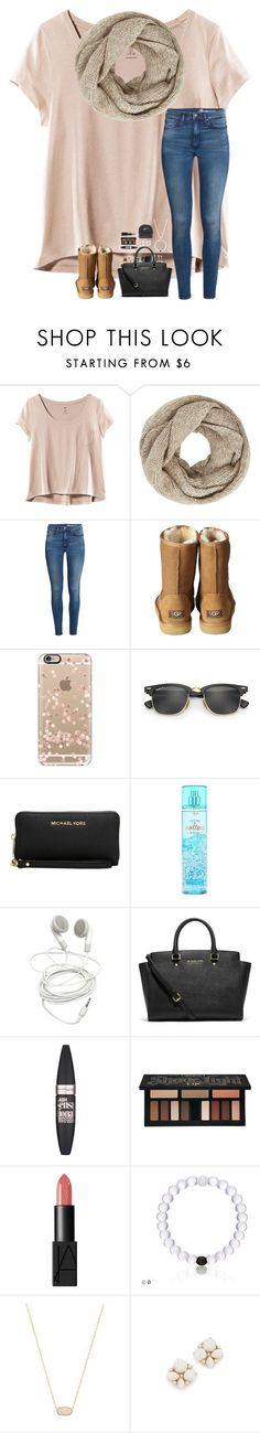 """""""she takes the long way home"""" by lovemyariana ❤ liked on Polyvore featuring H&M, John Lewis, UGG Australia, Casetify, Ray-Ban, Michael Kors, Maybelline, Kat Von D, NARS Cosmetics and Kendra Scott"""