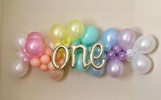 Pastel Rainbow First Birthday Balloon Garland DIY KitUnicorn