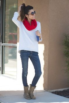 Red scarf, white long sleeve/sweater, skinny jeans, brown combat boots