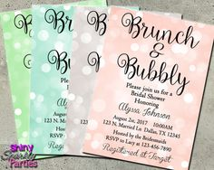 BRUNCH And BUBBLY INVITATION  Bridal Shower by ShinySparklyParties