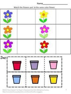 Spring Kindergarten Special Education Autism Cut and Paste Fine Motor Skills Planting a Flower Garden 18 page Cut and Paste Worksheet Set Sorting Activities, Preschool Learning Activities, Preschool Worksheets, Toddler Activities, Preschool Activities, Printable Worksheets, Free Printable, Matching Worksheets, Free Worksheets