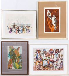 Lot 545: Print Assortment; Four prints including examples from Kogman, Ernst Guerrero and two illegibly signed