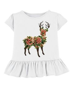 Another great find on #zulily! White Floral Deer Ruffle Tee - Toddler & Girls #zulilyfinds
