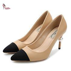 pwne Bottes Hiver Mary Jane Talon occasionnels PU Feather Black US8 / EU39 / UK6 / CN39 - Chaussures pwne (*Partner-Link)