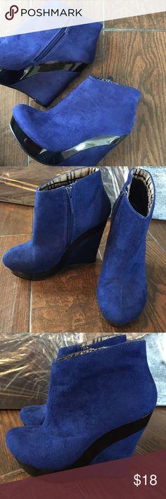 56992e999498 Michael Antonio Blue wedges •Blue •suede •Black. ➡️Worn once⬅ Michael  Antonio Shoes Wedges
