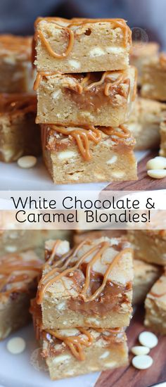 Easy and Delicious White Chocolate & Caramel Blondies with Caramel Sauce and White Chocolate Chips! Easy and Delicious White Chocolate & Caramel Blondies with Caramel Sauce and White Chocolate Chips! White Chocolate Blondies, White Chocolate Chips, Salted Caramel Blondies Recipe, Caramel Blondie Recipe, Chocolate Caramel Slice, Chocolate Sauce Recipes, Brownie Recipes, Chocolate Food, White Chocolate Desserts