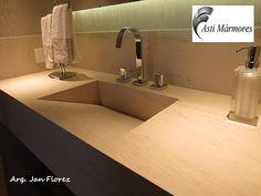 asti-marmores | Banheiros  Lavatório Limestone Mont Dore com Cuba Esculpida. Arquiteto Jan Florez #astimarmores #cubadepedra #limestone #janflorez