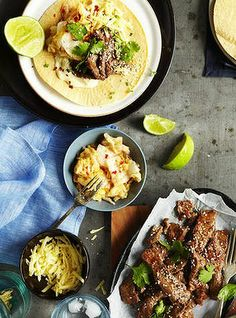 Marinate the meat the night before for Kate Gibbs' Korean beef tacos with kimchi and lime Korean Beef Tacos, Vegetarian Recipes, Healthy Recipes, Yummy Recipes, Healthy Food, Pickled Cabbage, Thing 1, Weeknight Meals, Food Inspiration
