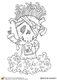 Un monstre à tête de squelette qui se déplace sur un nuage, à colorier.
