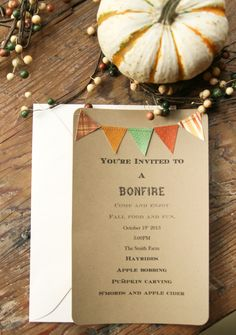 Autumn is here, fall parties, bonfires and hayrides are in full swing. These festive invitations are the perfect thing to let your friends and Fall Birthday, 16th Birthday, Birthday Parties, Birthday Ideas, Harvest Festival Crafts, Fall Bonfire, Harvest Party, Fall Diy, Party Invitations