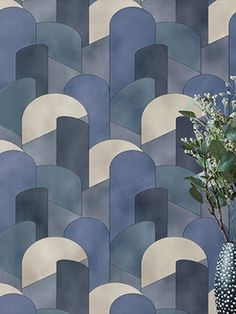Add some retro chic to your interior with this quality statement wallpaper from the Elle Decoration Collection. The wallpaper features a large scale graphic in blue, teal and beige. This quality wallpaper has a textured finish, which is great for covering minor imperfections, and could be used to create a striking feature wall or to decorate an entire room. This high quality wallpaper benefits from being a paste the wall paper. Wallpaper Paste, Adhesive Wallpaper, Geometric Graphic Wallpaper, High Quality Wallpapers, Retro Chic, Geometric Designs, Elle Decor, Designer Wallpaper, Pastel Colors