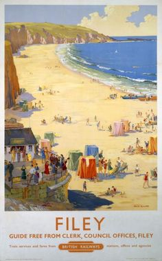 An poster sized print, approx (other products available) - Poster produced for British Railways (BR) to promote train services to Filey, North Yorkshire. Artwork by Ellis Silas.<br> - Image supplied by National Railway Museum - Poster printed in Australia Posters Uk, Train Posters, Railway Posters, Poster Prints, Art Prints, Retro Posters, National Railway Museum, British Seaside, Kunst Poster