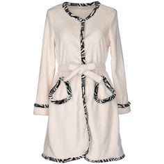 Twin-set Lingerie Dressing Gown ($68) ❤ liked on Polyvore featuring intimates, robes, ivory, long sleeve lingerie, bath robes, lingerie robe and dressing gown