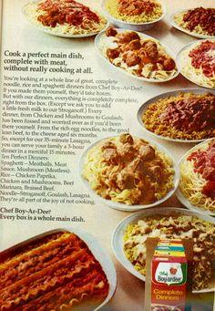 This is from Good Housekeeping Enjoy! Retro Ads, Vintage Ads, Retro Food, Vintage Food, Retro Recipes, Vintage Recipes, Old Advertisements, Advertising, Chef Boyardee