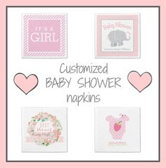 Save when you buy two or more packages of customized baby shower napkins! A wide variety of designs and styles for boys or girls, all customizable. #babyshowernapkins