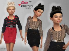 Chic Dresses For Girls by Puresim at TSR • Sims 4 Updates