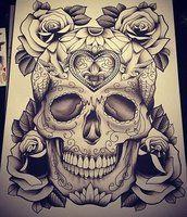 Skull n roses by WretchedDevilish