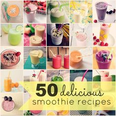 I have proclaimed my love of smoothies quite a few times since getting my blender last year, and I figured that I would make a MASSIVE list of delicious smoothie recipes. Yummy Smoothie Recipes, Nutribullet Recipes, Blender Recipes, Healthy Smoothies, Yummy Drinks, Healthy Snacks, Yummy Food, Yummy Recipes, Healthy Eating