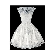 Rotita Round Neck White Lace Skater Dress ($20) ❤ liked on Polyvore featuring dresses, white, white dress, skater dress, vintage dresses, a line dress and lace sleeve dress