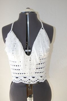 Crochet Halter Top in White Cotton with fringe.